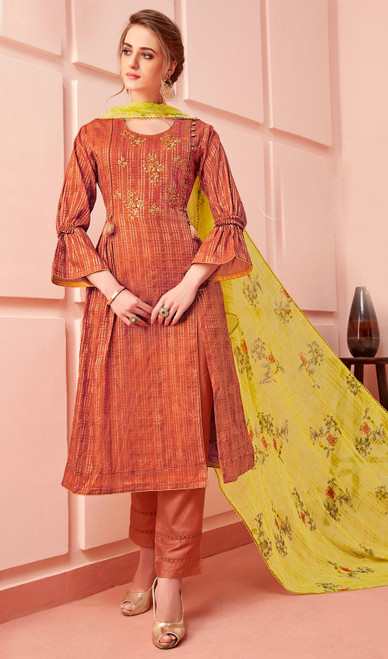 Cotton Embroidered Pant Style Suit in Dark Peach Color