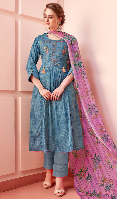 Cotton Embroidered Pant Style Suit in Aqua Blue Color