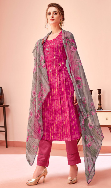 Cotton Embroidered Pant Style Suit in Rani Pink Color