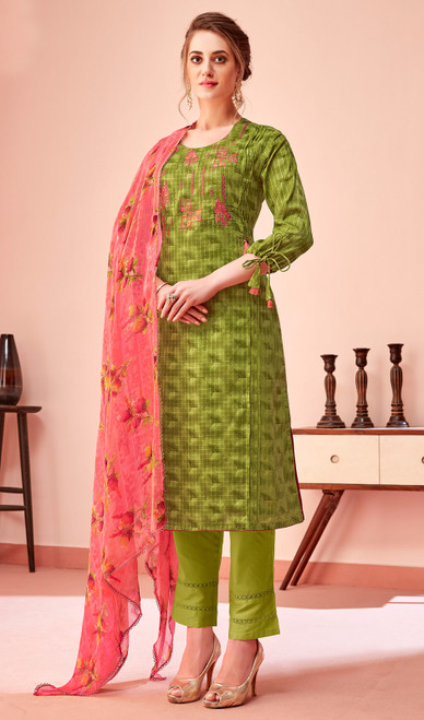 Cotton Embroidered Pant Style Suit in Mehendi Green Color