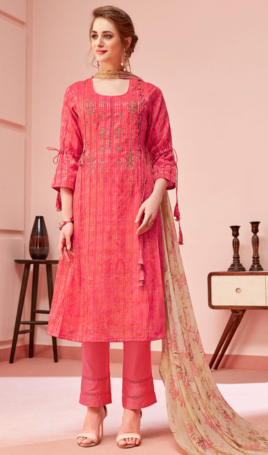 Cotton Embroidered Pant Style Suit in Reddish Pink Color