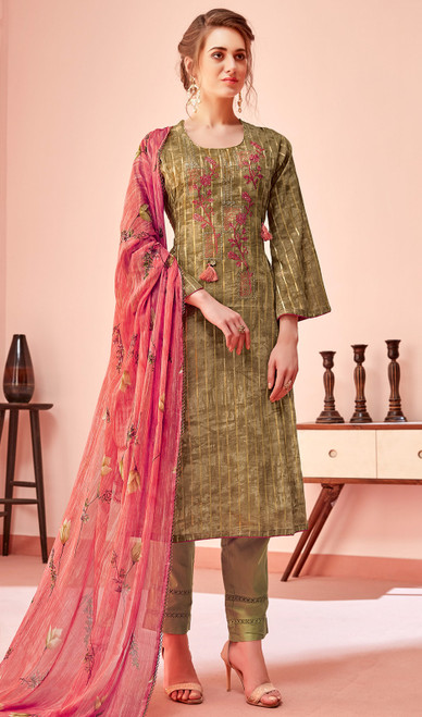 Cotton Embroidered Pant Style Suit in Olive Color