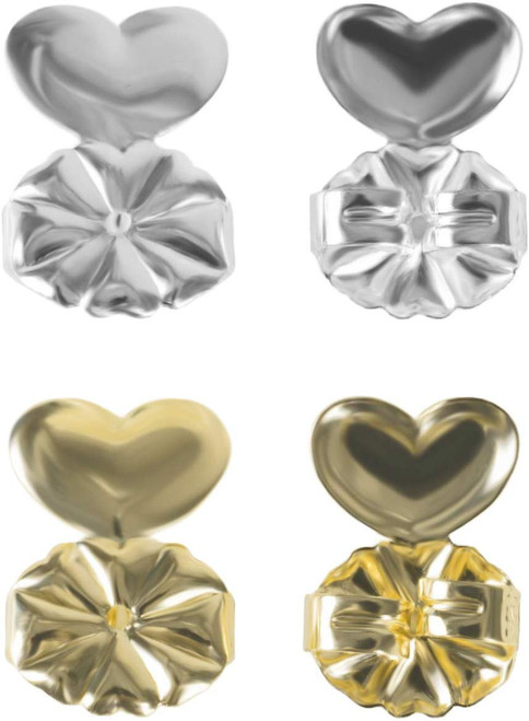 Magic Earring Lifts, Ear Lobe Support Backs for Studs (4 Pair - 2 Gold/2 Silver)