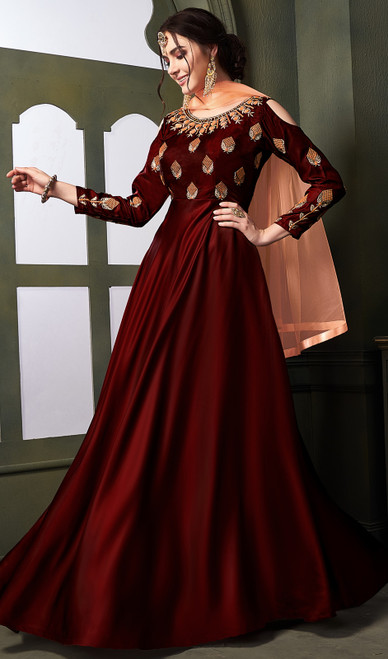Satin Silk Embroidered Anarkali Suit in Dark Maroon Color