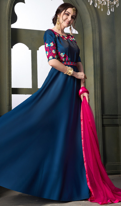 Satin Silk Embroidered Indian Anarkali Dress in Teal Blue Color