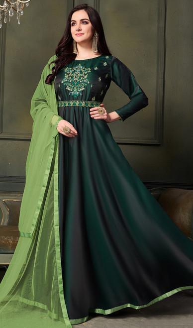 Satin Silk Embroidered Anarkali Dress in Dark Green Color