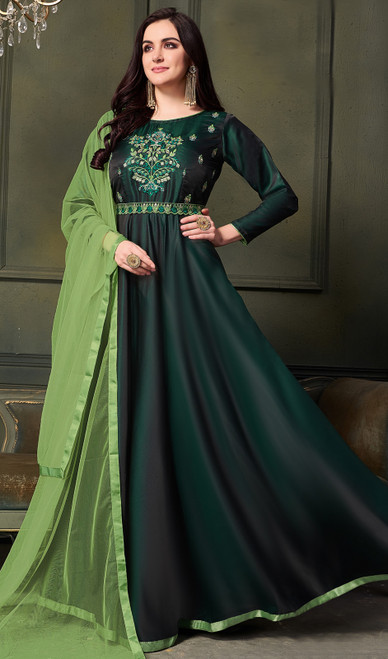 Satin Silk Embroidered Anarkali Dress in Dark Green Color