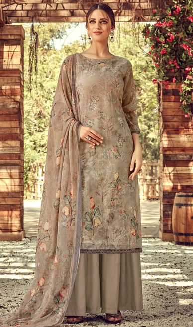Printed Embroidered Georgette Palazzo Suit in Beige Color