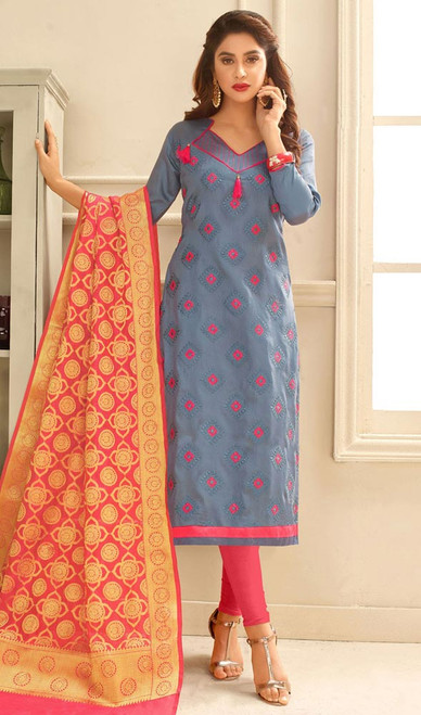 Gray Color Embroidered Cotton Churidar Dress