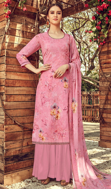 Printed Embroidered Georgette Palazzo Suit in Light Pink Color