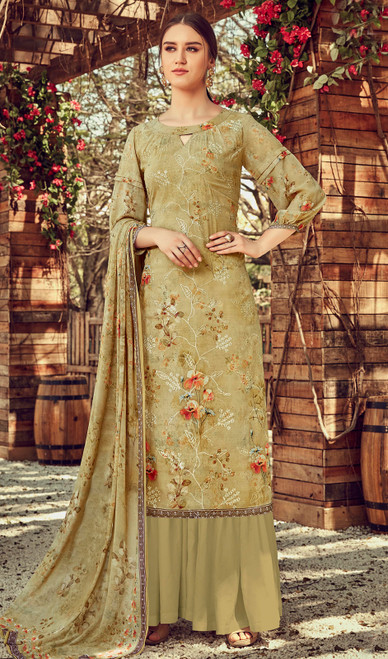 Printed Embroidered Georgette Palazzo Suit in Mehendi Color