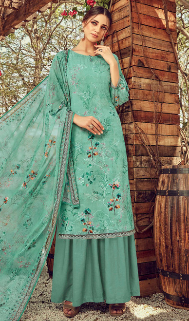 Printed Embroidered Georgette Palazzo Suit in Rama Green Color