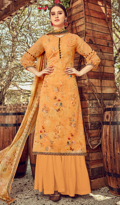 Printed Embroidered Georgette Palazzo Suit in Mustard Color