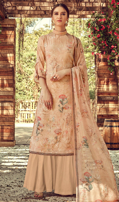 Printed Embroidered Georgette Palazzo Suit in Cream Color