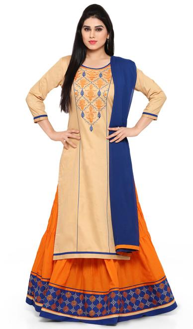 Jam Silk Embroidered Designer Lehenga Suit in Cream and Orange Color