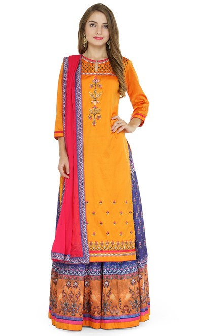 Taffeta Silk Embroidered Lehenga Suit in Orange and Mulricolor