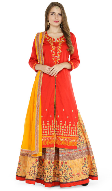 Taffeta Silk Embroidered Lehenga Suit in Red and Multicolor