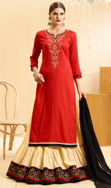 Satin Embroidered Lehenga Suit in Red and Cream Color