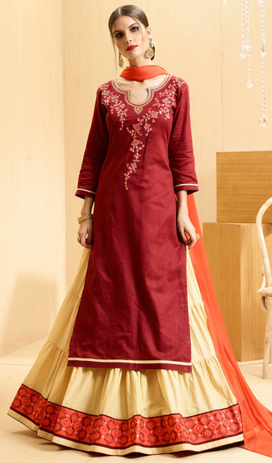 Satin Embroidered Lehenga Suit in Maroon and Cream Color