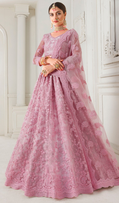 Net Embroidered Lehenga Choli in Light Pink Color