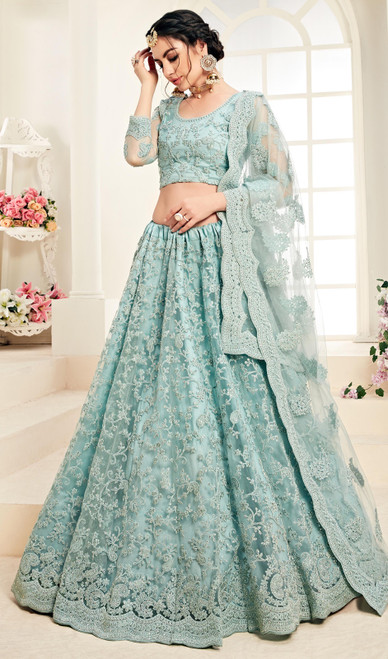 Net Embroidered Choli Skirt in Aqua Blue Color
