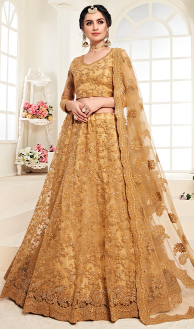 Net Embroidered Lehenga Choli in Dark Beige Color