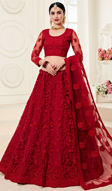 Net Embroidered Lehenga Choli in Maroon Color