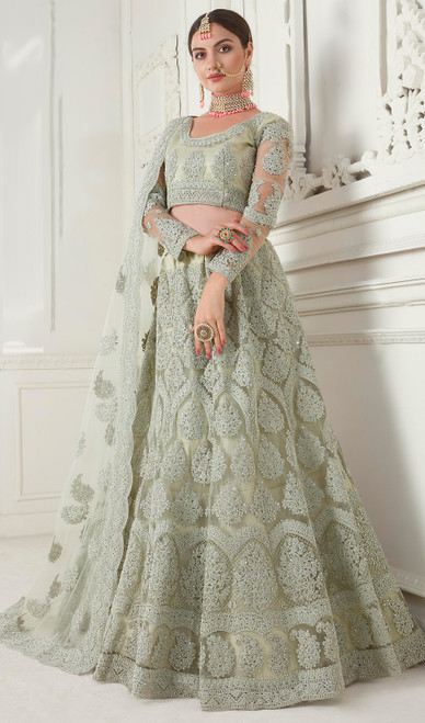 Net Embroidered Lehenga Choli in Mint Green Color