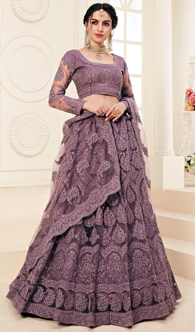 Net Embroidered Lehenga Choli in Violet Color