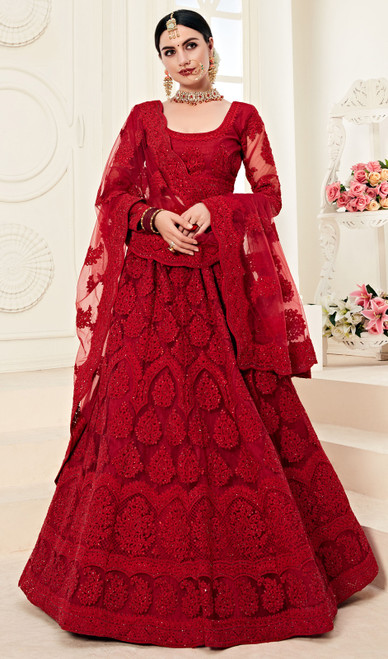Maroon Color Designer Net Embroidered Lehenga Choli
