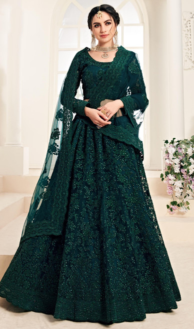 Net Embroidered Lehenga Choli in Deep Green Color