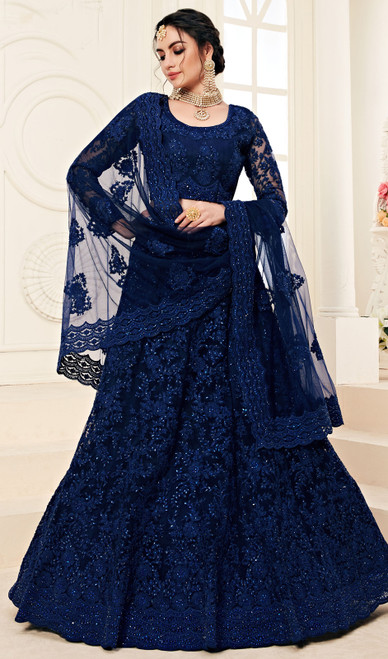 Net Embroidered Choli Skirt in Deep Blue Color