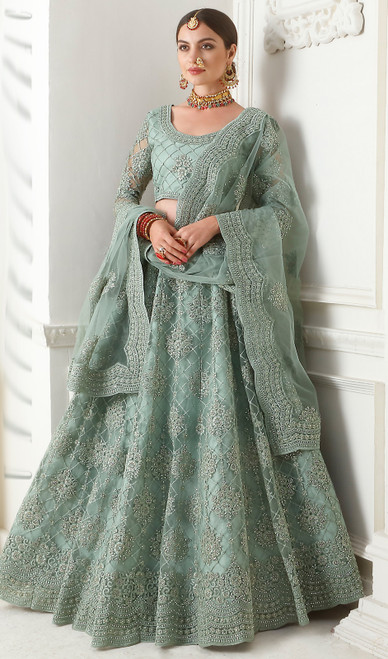 Net Embroidered Lehenga Choli in Teal Gray Color