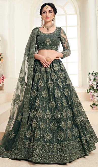Net Embroidered Designer Choli Skirt in Teal Green Color
