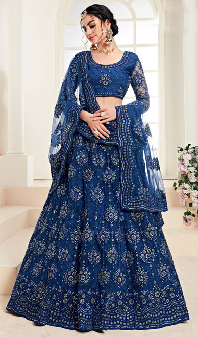 Net Embroidered Lehenga Choli in Teal Blue Color