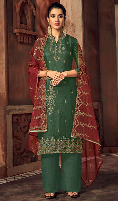 Silk Embroidered Palazzo Suit in Bottle Green Color