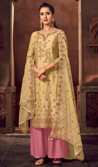 Silk Embroidered Palazzo Suit in Beige Color