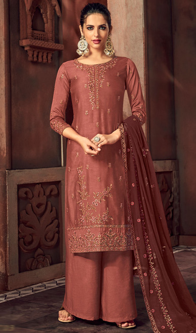 Silk Embroidered Palazzo Suit in Light Brown Color