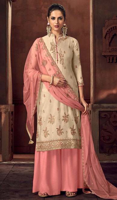 Silk Embroidered Palazzo Suit in Cream Color