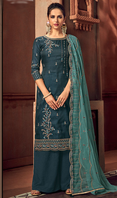 Silk Embroidered Palazzo Suit in Teal Blue Color