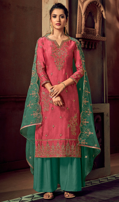 Silk Embroidered Palazzo Suit in Coral Color