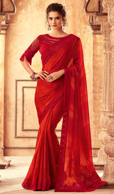 Silk Designer Embroidered Sari in Red Color