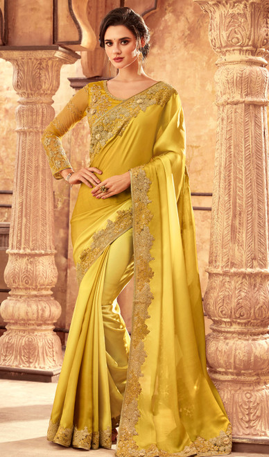 Silk Embroidered Indan Saree in Lemon Color