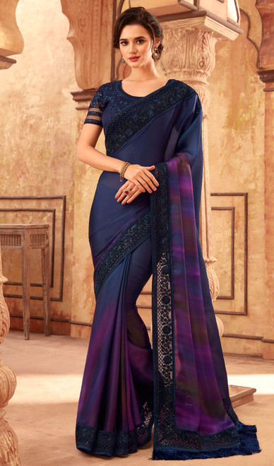 Silk Fancy Embroidered Sari in Navy Blue Color