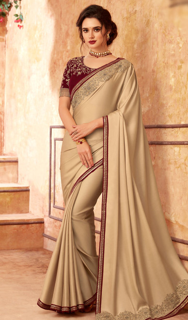 Silk Beige Color Shaded Embroidered Sari