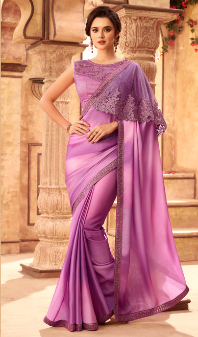 Light Purple Color Shaded Silk Embroidered Saree