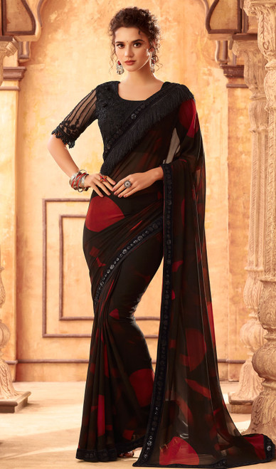Georgette Embroidered Sari in Balck and Red Color