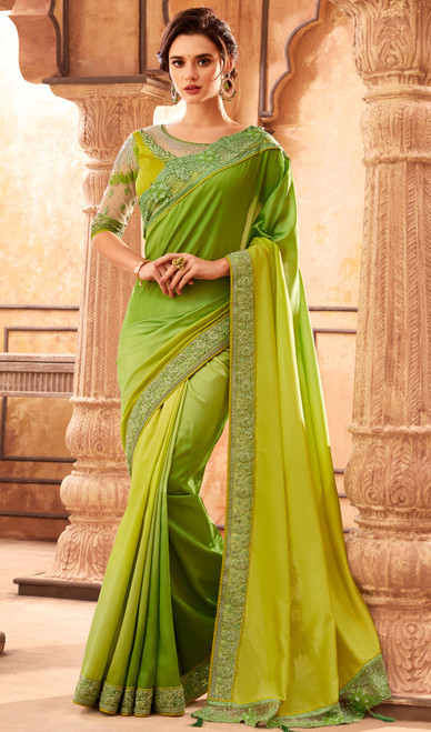 Silk Embroidered Designer Sari in Yellow and Green Color