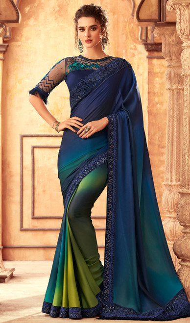 Silk Blue Color Shaded Embroidered Sari
