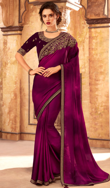 Silk Embroidered Fancy Sari in Magenta Color